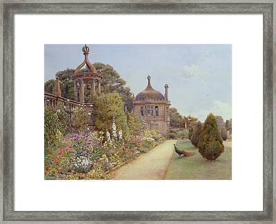 The Gardens At Montacute In Somerset Framed Print by Ernest Arthur Rowe