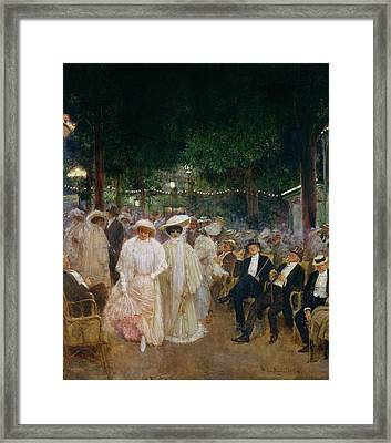 The Gardens Of Paris, Or The Beauties Of The Night, 1905 Oil On Canvas Framed Print by Jean Beraud