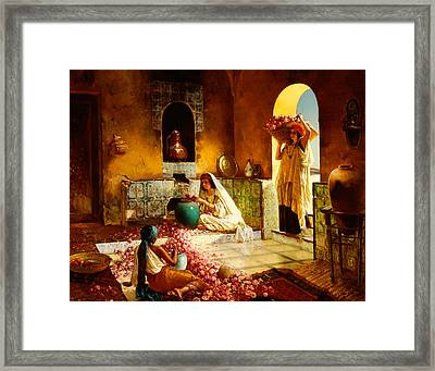 The Gathering Of The Roses Framed Print by Rudolphe Ernst