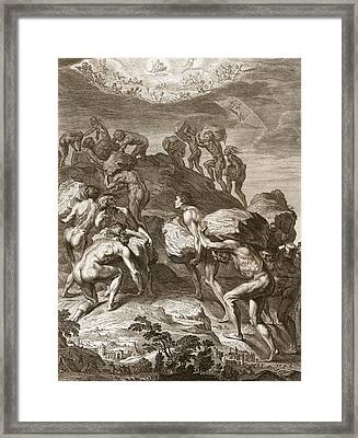 The Giants Attempt To Scale Heaven Framed Print by Bernard Picart