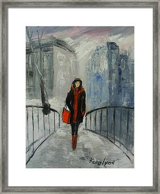 The Girl In Black Framed Print by Maria Karalyos