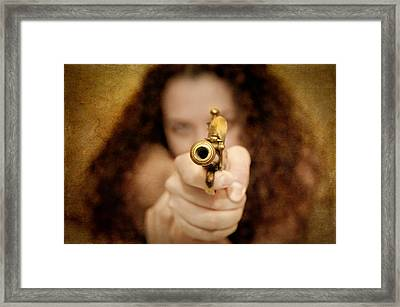 The Girl With The Golden Gun Framed Print by Loriental Photography