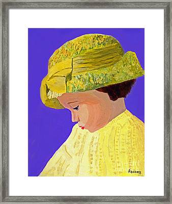 Framed Print featuring the painting The Girl With The Straw Hat by Rodney Campbell