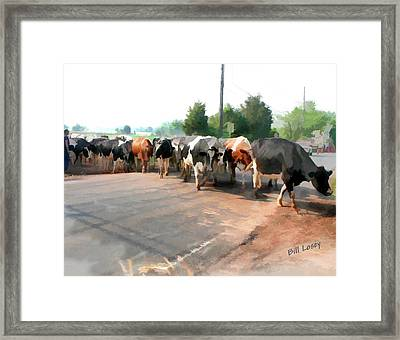 The Girls Crossing The Road Framed Print by Bill Losey