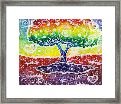 Blue Grapes Framed Print featuring the mixed media The Giving Tree by Shana Rowe Jackson
