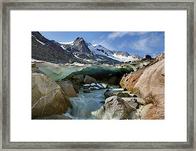 The Glacier Snout With Ice Cave Framed Print by Martin Zwick