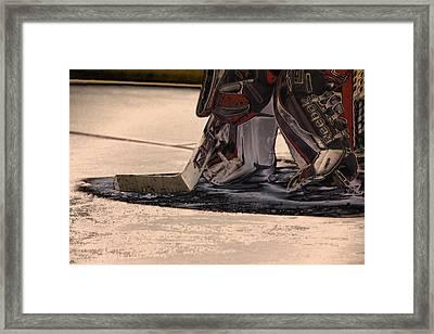 The Goalies Crease Framed Print by Karol Livote