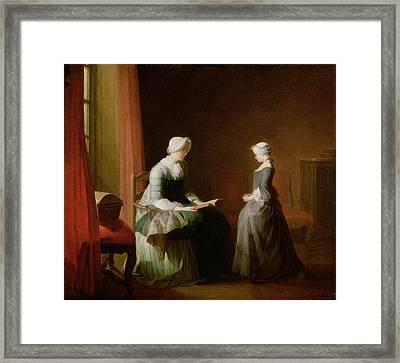 The Good Education, 1753 Oil On Canvas Framed Print by Jean-Baptiste Simeon Chardin