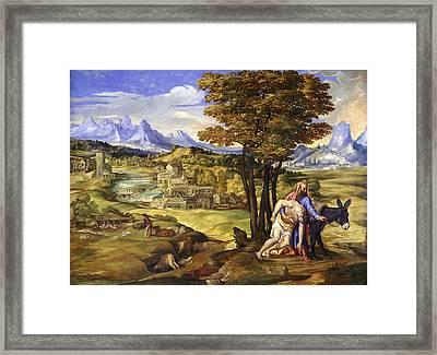 The Good Samaritan Framed Print by Domenico Campagnola