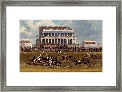 The Grand Stand At Epsom Races, Print Framed Print by James Pollard