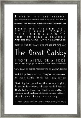 The Great Gatsby Quotes Framed Print by Georgia Fowler