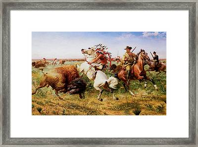 The Great Royal Buffalo Hunt Framed Print by Louis Maurer