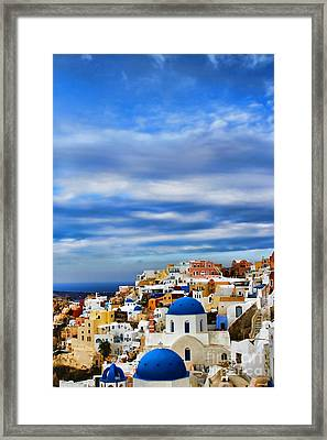 The Greek Isles-oia Framed Print by Tom Prendergast