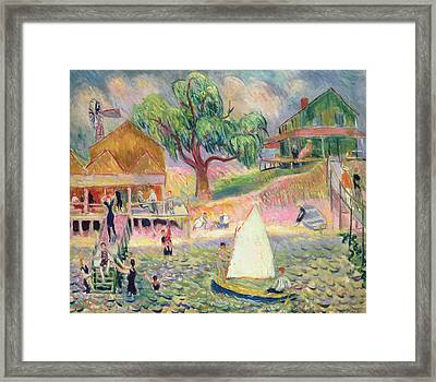 The Green Beach Cottage Framed Print by William James Glackens