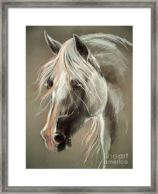 The Grey Horse Soft Pastel Framed Print by Angel  Tarantella