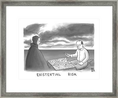 The Grim Reaper And A Man Play Existential Risk Framed Print by Paul Noth