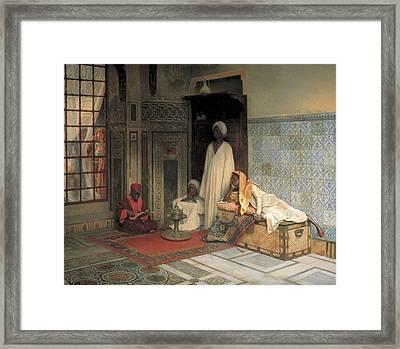 The Guards Of The Harem  Framed Print by Ludwig Deutsch