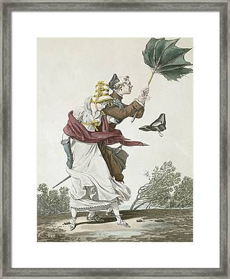 The Gust Of Wind Framed Print by Antoine Charles Horace Vernet