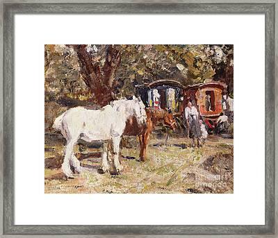 The Gypsy Encampment Framed Print by Harry Fidler