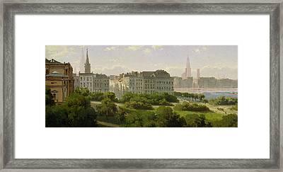 The Hamburg Kunsthalle And The Wallanlagen At The Glockengiesserwal Framed Print by Rudolf von Turcke