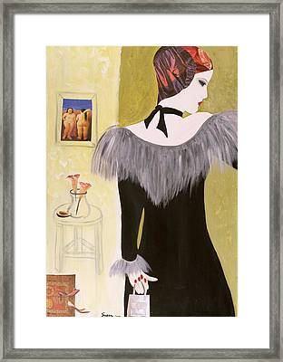 The Handbag, 2004 Acrylic With Collage On Paper Framed Print by Susan Adams