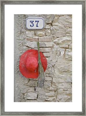 The Hanging Red Hat Framed Print by David Letts