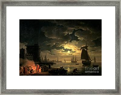 The Harbor Of Palermo Framed Print by Claude Joseph Vernet