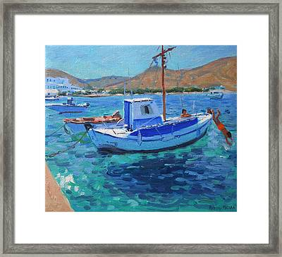 The Harbor  Tinos Framed Print by Andrew Macara