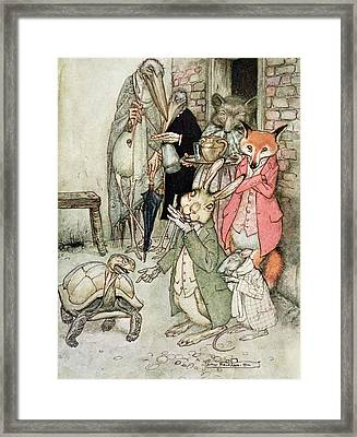 The Hare And The Tortoise, Illustration From Aesops Fables, Published By Heinemann, 1912 Colour Framed Print by Arthur Rackham