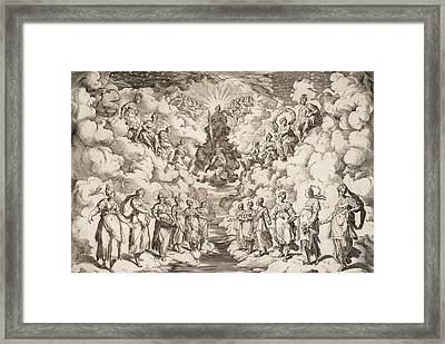 The Harmony Of The Spheres Framed Print by Agostino Carracci