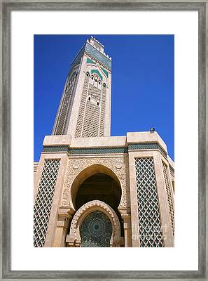 The Hassan II Mosque Grand Mosque With The Worlds Tallest 210m Minaret Sour Jdid Casablanca Morocco Framed Print by Ralph A  Ledergerber-Photography