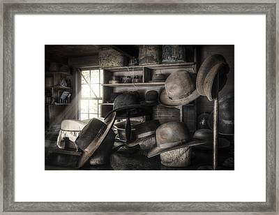The Hatters Shop - 19th Century Hatter Framed Print by Gary Heller