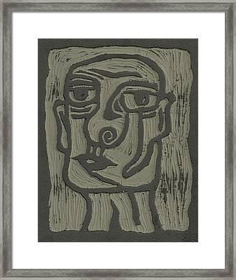 The Head Linoleum Block Carving Framed Print by Shawn Vincelette