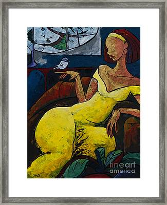 Woman In Hat Framed Print featuring the painting The Healing Process - From The Eternal Whys Series  by Elisabeta Hermann