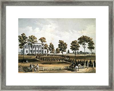 The Hermitage, Jacksons Tomb And Andrew J. Donelsons Residence, 12 Miles From Nashville Tennessee Framed Print by American School