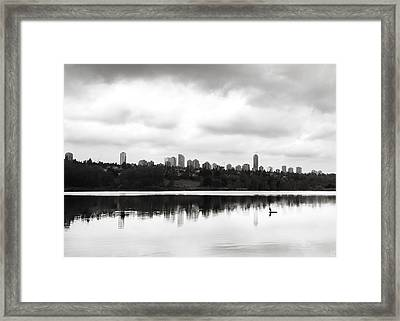 The Heron And The City Framed Print by Lisa Knechtel