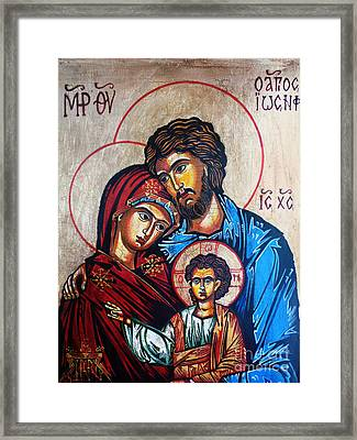 The Holy Family Icon Framed Print by Ryszard Sleczka