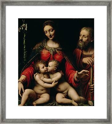 The Holy Family With The Infant St. John Framed Print by Bernardino Luini