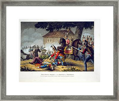 The Horse Guards At The Battle Framed Print by William Heath
