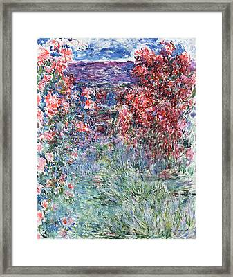 The House At Giverny Under The Roses Framed Print by Claude Monet