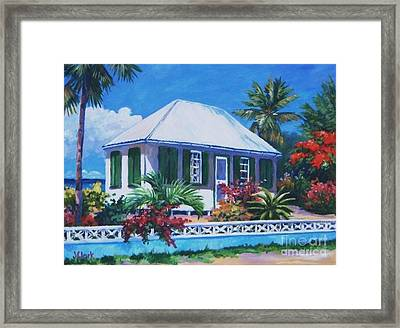 The House With Green Shutters Framed Print by John Clark