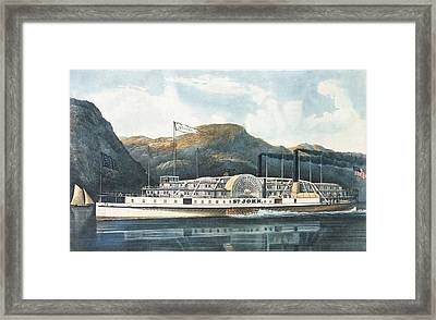The Hudson River Steamboat St. John, Published 1864 Colour Litho Framed Print by N. Currier
