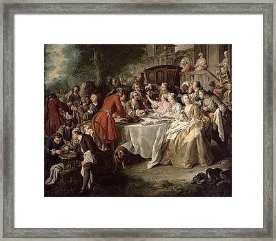 The Hunt Lunch, Detail Of The Diners Framed Print by Jean Francois de Troy