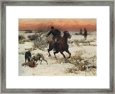 The Hunters Framed Print by A Wierusz Kowalski