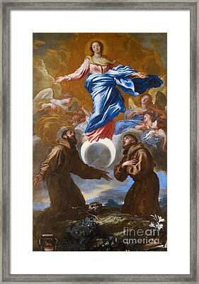 The Immaculate Conception With Saints Francis Of Assisi And Anthony Of Padua Framed Print by Il Grechetto