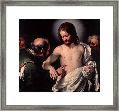 The Incredulity Of Saint Thomas Framed Print by Bernardo Strozzi