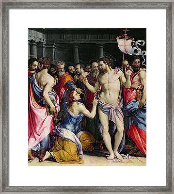 The Incredulity Of Saint Thomas Framed Print by Francesco de Rossi Salviati Cecchino