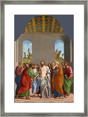 The Incredulity Of Saint Thomas Framed Print by Giovanni Battista Cima