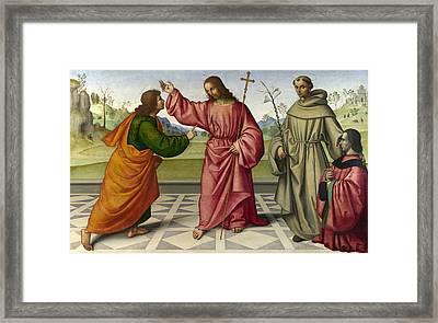 The Incredulity Of Saint Thomas Framed Print by Giovanni Battista da Faenza
