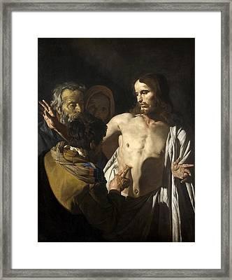 The Incredulity Of Saint Thomas Framed Print by Matthias Stom